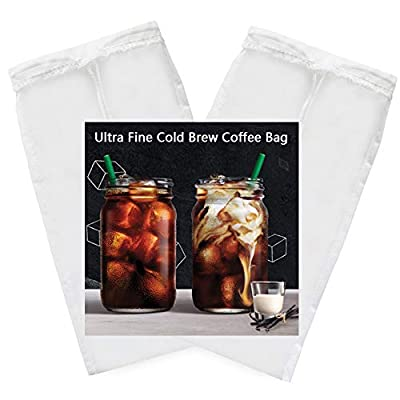 "2 Pack - Cold Brew Coffee Bag - 8.6""X5"" Ultra Fine Mesh-75 Micron Food Grade Nylon, Seamless Bottom Reusable Cold Brew Coffee Filter/Coffee Maker"