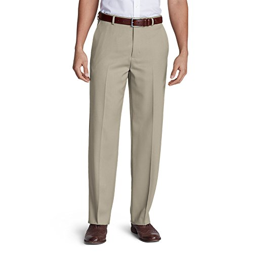Eddie Bauer Men's Relaxed Fit Flat-Front Wool Gabardine Trousers, Tan Regular (Wool Gabardine)