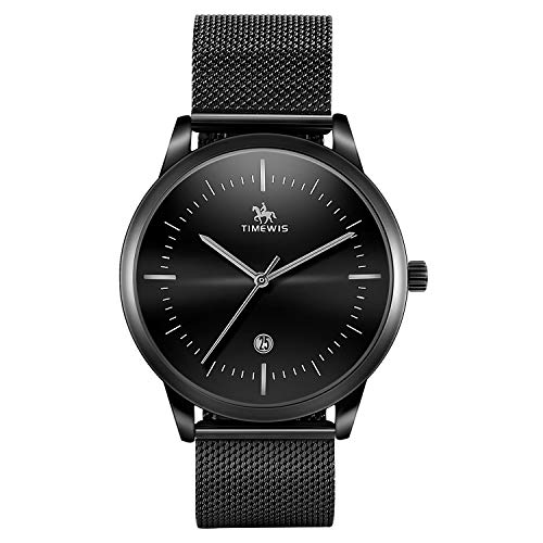 Mens Quartz Watch, Timweis Business Casual Fashion Date Slim Analog Quartz Watch, Waterproof 30M Stainless Steel Mesh Band Watches (Black Silver)