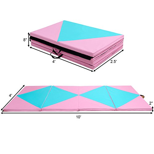 COSTWAY 4'X10'X2 Gymnastics Mat Folding Portable Exercise Aerobics Fitness Gym Exercise by COSTWAY (Image #5)