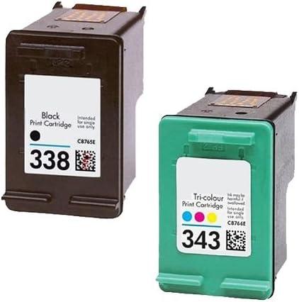 Pack Cartuchos Tinta Compatible para HP 338 XL / 343 XL/Negro y Tricolor 18/17ml T87 T90: Amazon.es: Electrónica