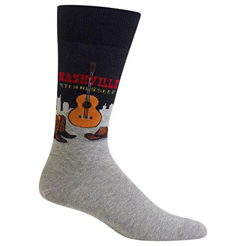 Hot Sox Men's Classic Fashion Crew Socks, Nashville (Black), Shoe Size:6-12 / Sock Size: 10-13