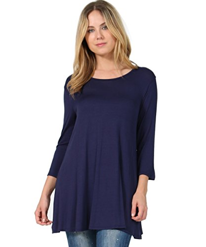 42POPS Women's Boat Neck 3/4 Sleeve Convertible Draping Plus Size Tunic Top Shirt Blouse (1X, Navy)