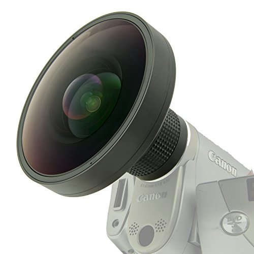 Opteka Platinum Series 37mm 0.2X HD Large Panoramic Vortex Fisheye Lens for Video Cameras (30.5mm, 30mm and 25mm Adapters Included)