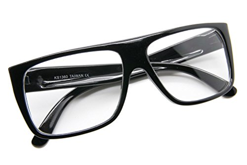 Black Vintage Retro Mens Eyeglasses Thick Full Frame Hipster Clear Lens - Eyeglass Lenses Small Thick Frames For