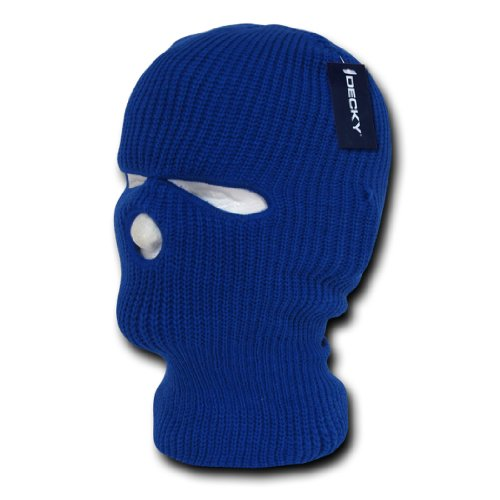 (Decky Solid Blank Three Hole Skii and Snowboard Mask (6 Colors), Royal)