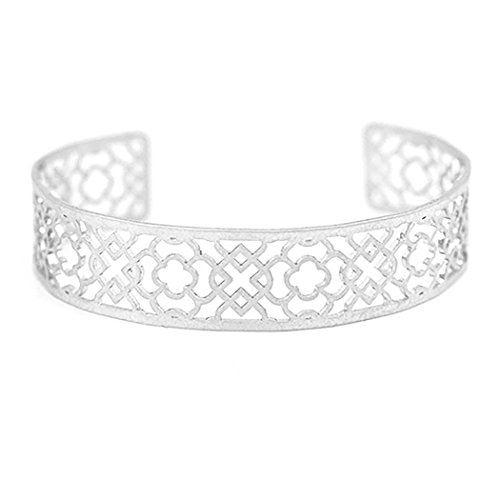 Rosemarie Collections Women's Filigree Cuff Bangle Bracelet (Silver)