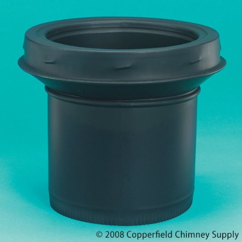 Selkirk Corporation JSC8ASE 8 Inch Model DSP Double-Wall Stovepipe Adaptor Stovepipe To Chimney Stainless Steel Painted Black