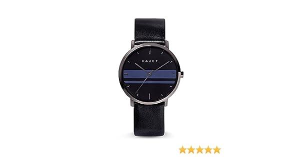 HAVET | Reloj de mujer Dyna de acero color antracita esfera negra con detalles en azul y correa de piel negra: Amazon.es: Relojes