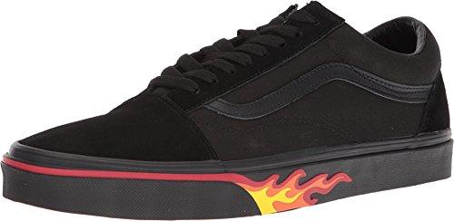 Vans Old Skool Unisex Adults' Low-Top Trainers (12 Women/10.5 Men M US, (Flame Wall) Black/Black)