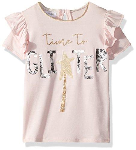 Mud Pie Baby Girls Glitter Sequin Flutter Sleeve T-Shirt, Pink, LG/ 4T-5T