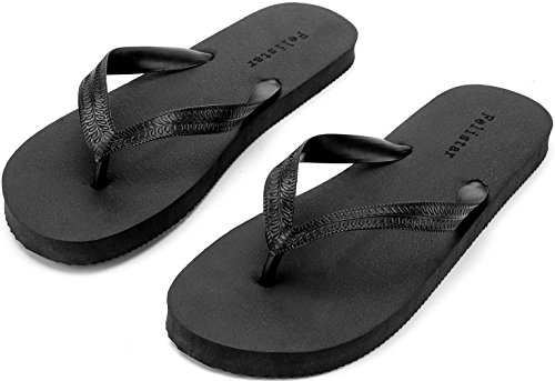 Flip Flops for Women Men,Unisex Sandals. (6 US Men/8 US Women, Black)