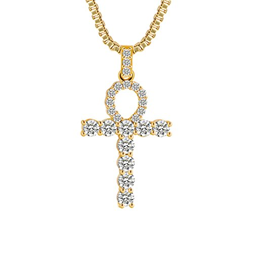 CUCCU Men Women 18K Gold Tone Egyptian Ankh Cross Pendant,CZ Inlay,with 24 Inch Chain Necklace Jewelry