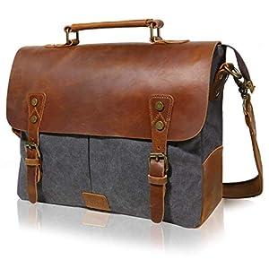 Lifewit Leather Vintage Canvas Laptop Bag 6f90ce71ee97a