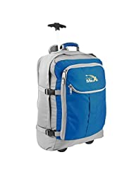 Cabin Hand Luggage Trolley Backpack with padded laptop compartment -Lyon+ by Cabin Max (Grey/ Blue)