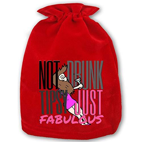 Santa Present Sack Bags Christmas NOT Drunk, NOT Tipsy Bags Red Drawstring Bag, Standard Reusable Shopping - Santa Tipsy