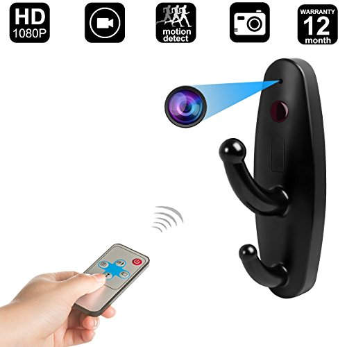 Mini Nanny cam spy Hidden Remote Control Camera Clothes Hook Video Recorder Motion Activated Security DVR Black