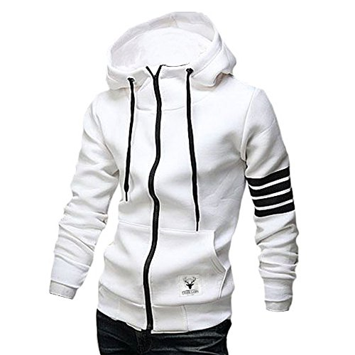 Gray Black Striped Hoodie - ZUEVI Men's Casual Striped Drawstring Hooded and Zipper Closure Hoodies(White-L)