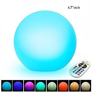 Giwox Boule Lampe de Chevet LED Éclairage d'Ambiance Multicolore et Lumineux Sans Fil avec 16 Couleurs Changeable Pour la Décoration Intérieur ou Extérieur(Diamètre 12cm)