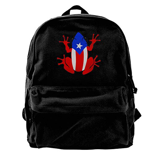 Canvas Backpack Puerto Rico Rican Frog Rucksack Gym Hiking Laptop Shoulder Bag Daypack For Men Women