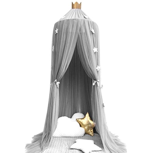 Mosquito Net Bed Canopy Yarn Play Tent Bedding for Kids Playing Reading Round Lace Dome Netting Curtains Baby Boys Girls Games House Gray Grey