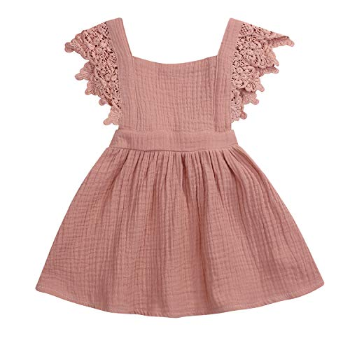 YOUNGER TREE Toddler Baby Girls Summer Cotton Lace Sleeve Princess Overall Dress Backless Sundress (Khaki, 6-12 Months)