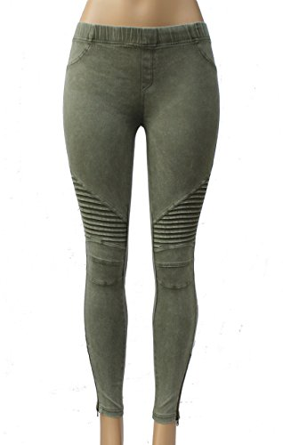 Price comparison product image Beulah Womens Ankle Zip Moto Pant Large Olive