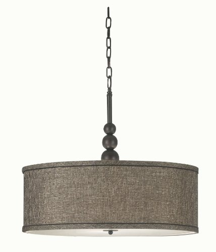 Kenroy Home 91640ORB Margot 3-Light Pendant with Fabric Shade, Oil-Rubbed Bronze