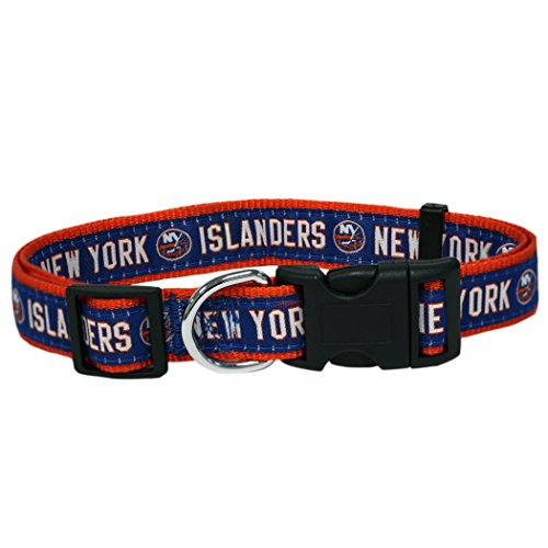 Pets First NHL New York Islanders Collar for Dogs & Cats, Large. - Adjustable, Cute & Stylish! The Ultimate Hockey Fan Collar! ()