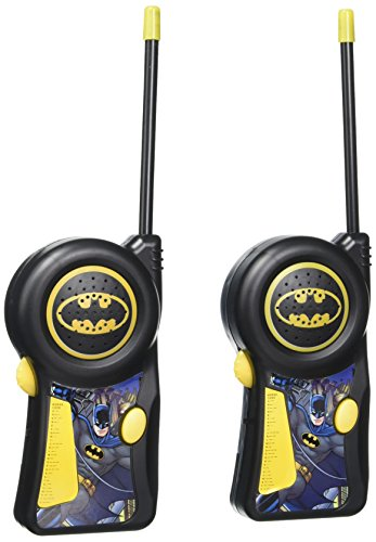 Batman Walkie Talkie 33482N DC Comics Warner Brothers The Dark Knight - Styles May Vary, Flexible Saftey Antenna & Morse Code with On/Off Switch with Belt Clip, Black/Yellow