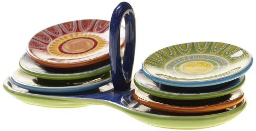 Certified International Tapas 7-Piece Canape/Dip Set with Ceramic Stand and Plates