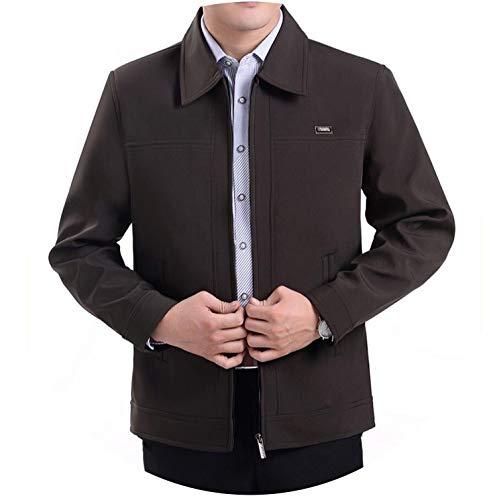 Charles Microfiber Vest - L-4XL Spring Autumn Men's Jackets Turn-Down Collar Overcoat Middle-Aged Zipper Coats,Zipper Coffee,4XL