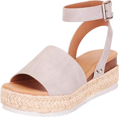 Cambridge Select Women's Open Toe Ankle Strap Espadrille Flatform Sandal,9 B(M) US,Dove Grey NBPU