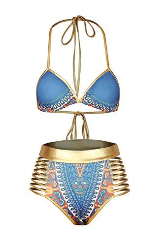 Halter triángulo superior vendaje sin respaldo 2 piezas de las mujeres Bikini trajes de baño de vacaciones Blue