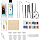 Epoxy Resin Tumblers Kit, Epoxy Adhesive Tumbler Supplies with Clear Cast Epoxy,Glitter Powder,Silicone Brushes,Mixing…