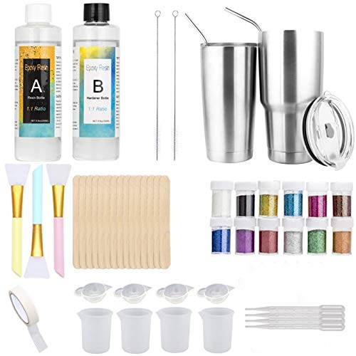Epoxy Resin Tumblers Kit, Epoxy Adhesive Tumbler Supplies with Clear Cast Epoxy,Glitter Powder,Silicone Brushes,Mixing Cups,Pipettes,Sticks
