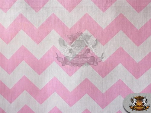 """Polycotton Printed Fabric Large Chevron BABY PINK WHITE / 60"""" Wide / Sold by the yard"""