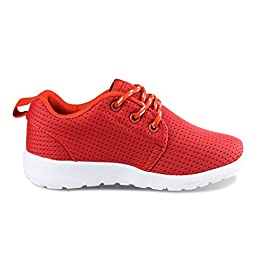Hawkwell Breathable Lace-up Running Shoes(Toddler/Little Kid/Big Kid),Red Mesh,1 M US Little Kid