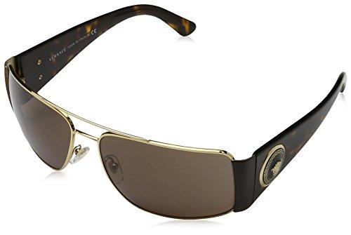 Versace Men's VE2163 Sunglasses Gold / Brown - Sunglasses Brands Luxottica