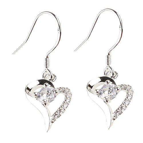 Diamonds Heart Happy Ring (Happy Will Heart-shaped Diamond Earrings 925 Sterling Silver Plated Stud Earring Dangle Earrings)