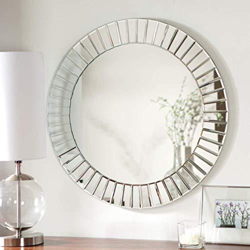 Modern Geometric Bevelled Mirrored Frame Art Deco Sliver Round Mirror Sunburst Effect -