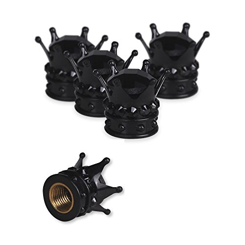 Valve Tire Stem Caps, Mini-Factory Bling Chrome Air Cap Cover for Car Wheel - Diamond Crown (Black)