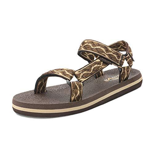 NORTIV 8 Men's 181114M Brown Beige Outdoor Walking Sandals Summer Beach Sandal Size 10 M US (Best Beach Sandals 2019)