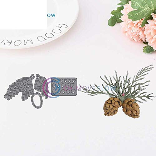 (Ch Whitepine Boughs & Pinecone 4 Piece Set Metal Cut Cutting Dies Mold Tool for Scrapbooking Scrapbook Handmade DIY Craft Cards Album Decoration Embossing Wedding Party Bride Card)