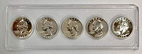 (1960 P 1961 1962 1963 1964 Gem Washington Quarter Run 5 Coin Set .25 US Mint Proof)