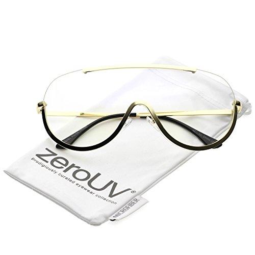 zeroUV - Oversize Semi Rimless Metal Trim Clear Mono Lens Shield Eyeglasses 65mm (Gold / - Eyeglasses Trim Gold With