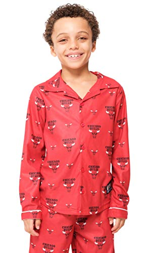 - Ultra Game NBA Chicago Bulls Boys 2 Piece Pjs Lounge Flannel Set, Red, 8