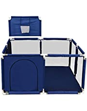 Baby Playpen,Portable Baby Extra Large Mesh Fence with Basketball Hoop, Kids Activity Centre Safety Play Yard for Baby Toddler Twins Infants49.61x49.61x25.6inch