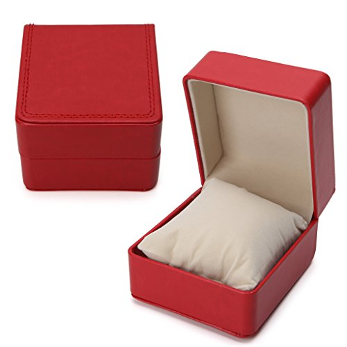 AISme Luxury Faux Leather Watch Box Bracelet Bangle Pillow Cushion Display Holder Case (Red) Faux Leather Bangle Watch