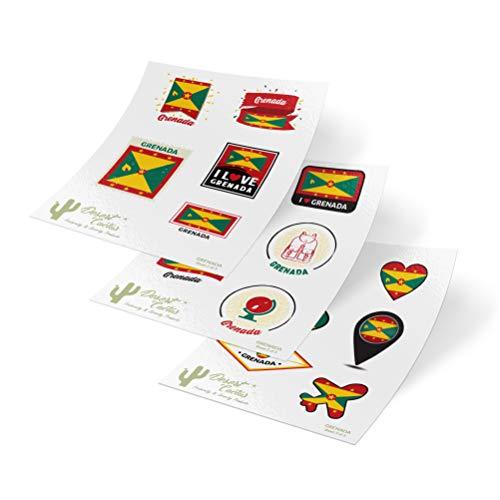 Grenada 3 Piece - Grenada Country Flag Stickers Decals 3 Sheets 17 Total Pieces Kids Logo Scrapbook Car Vinyl Window Bumper Laptop 3 Sheets